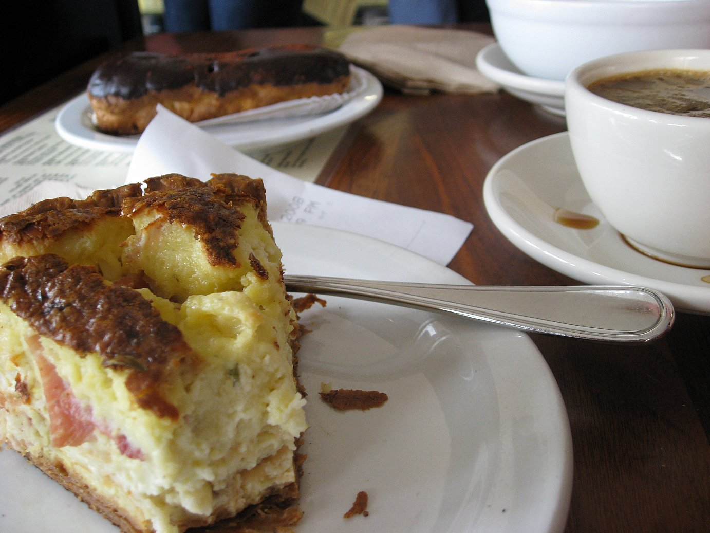 Tartine Quiche, Coffee and Eclair