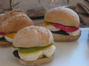 mozzarella, tomato, eggplant and pesto sandwiches