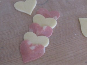 cheese and mortadella hearts