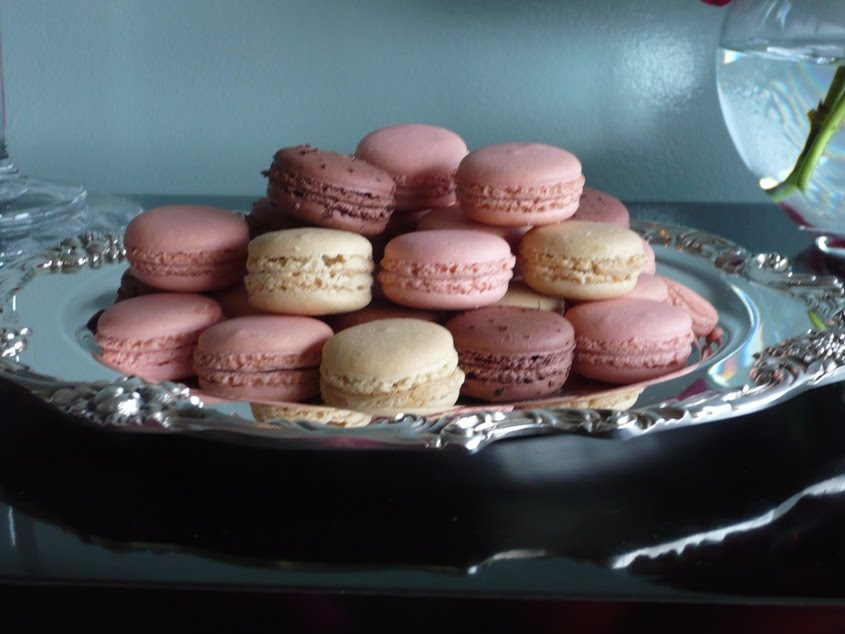 French macaroons on a silver tray