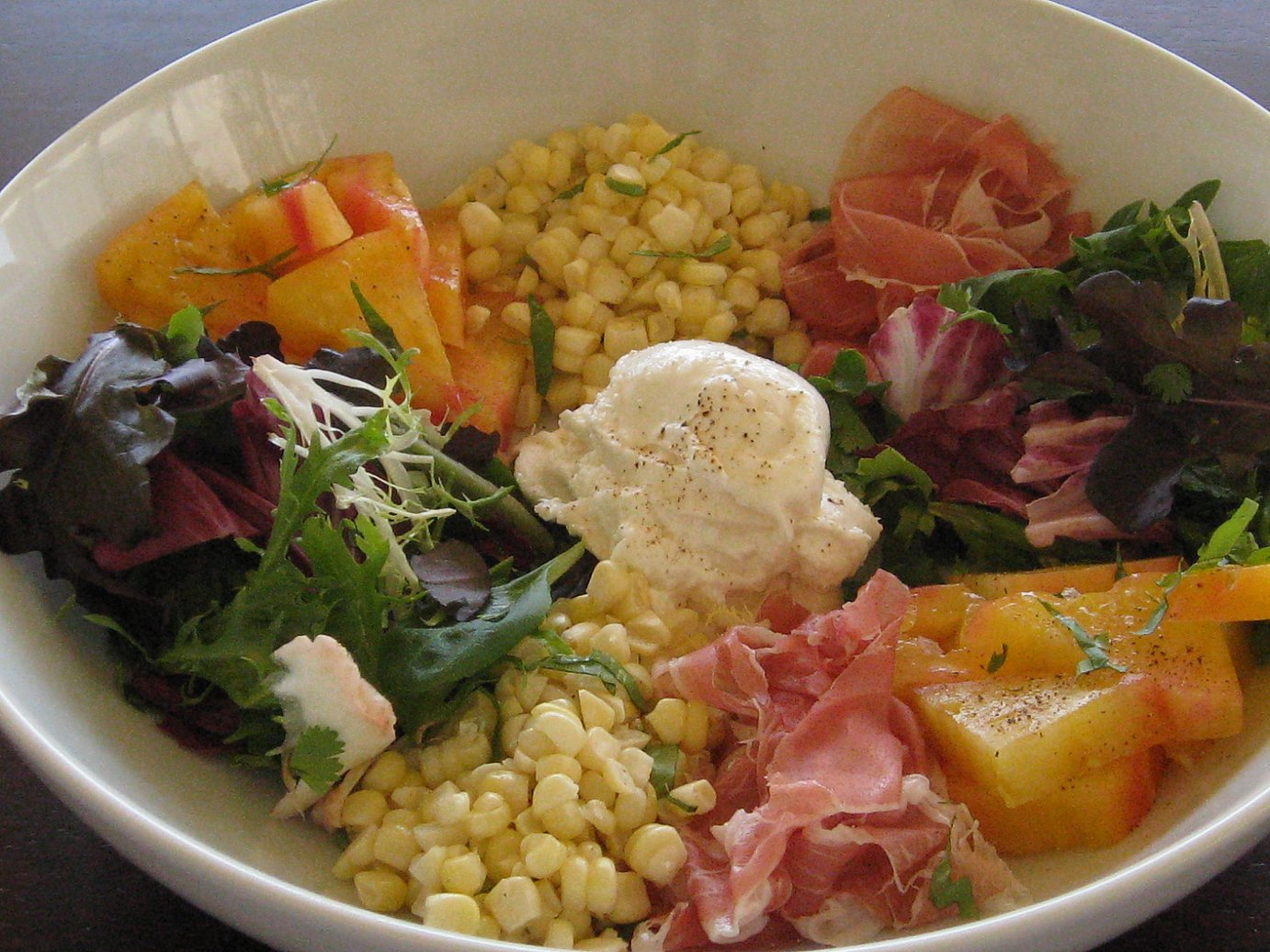 Burrata, Fresh Corn and Prosciutto Salad