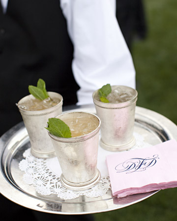 monogram napkin, julip cups
