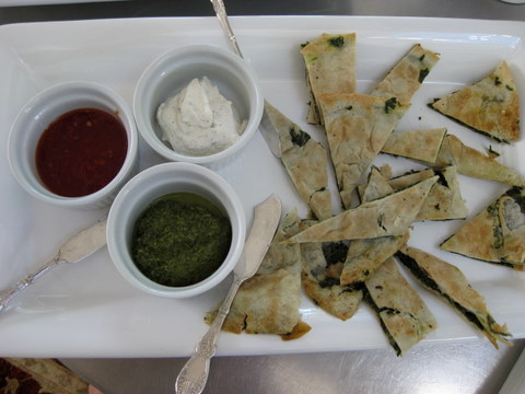 flat bread with dips