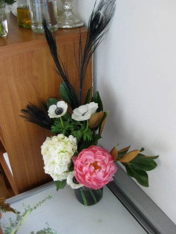 peony and black feather