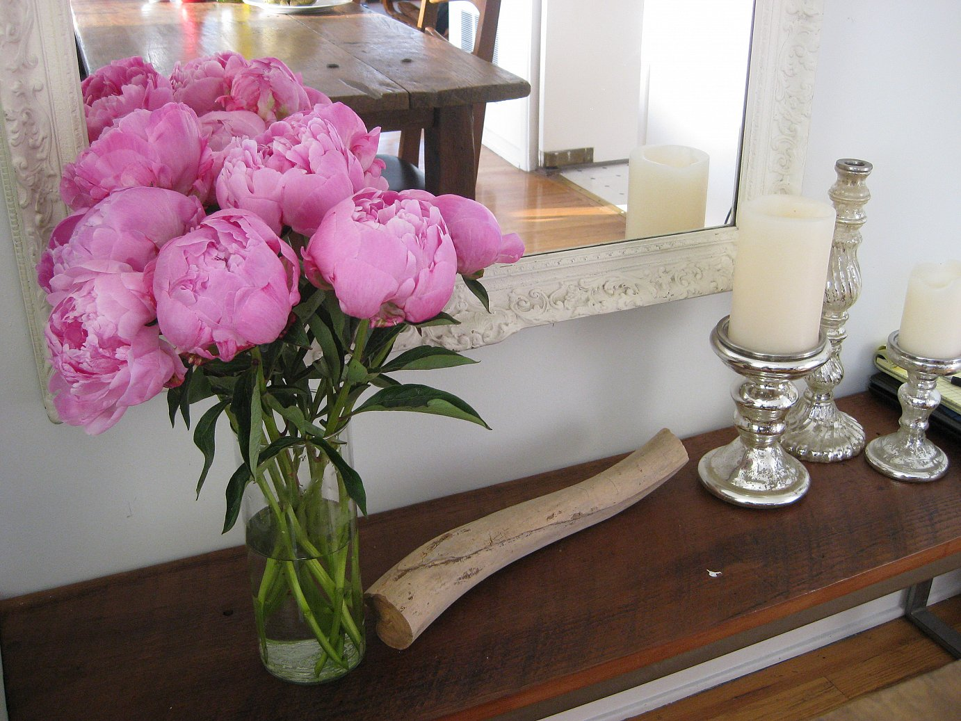 peonies on bench