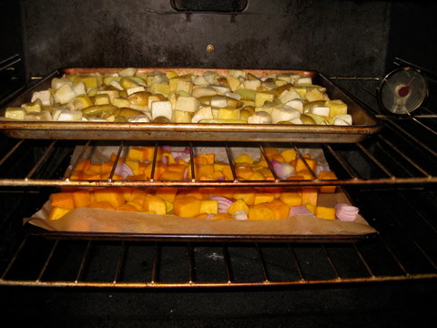 root veggies in oven