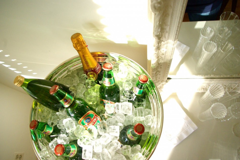 Ice bucket of beers and prosecco