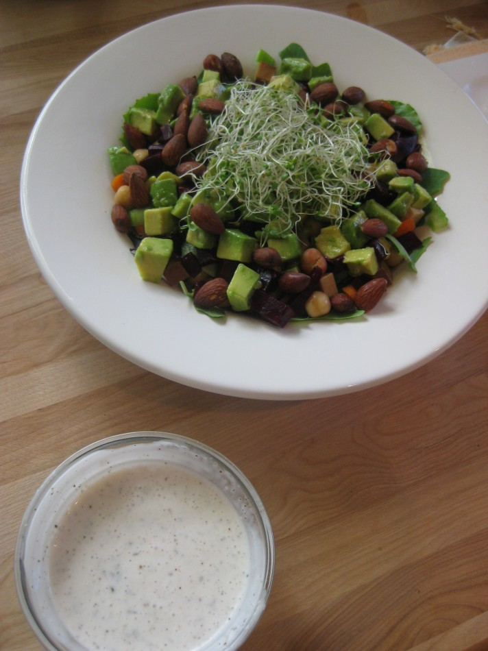 Tofu chopped salad with vegan ranch