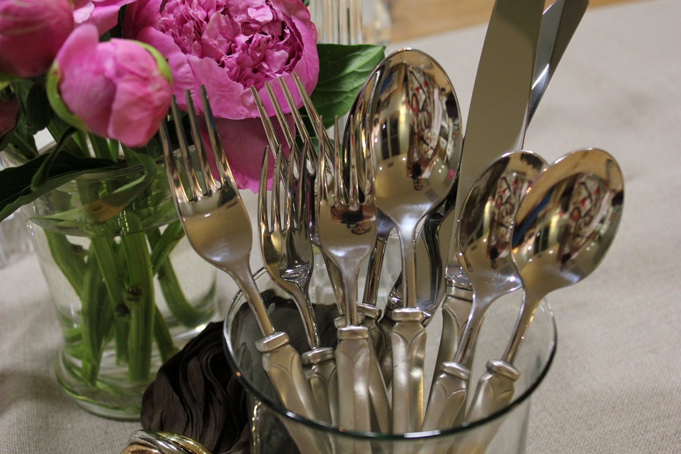 Flatware and peonies