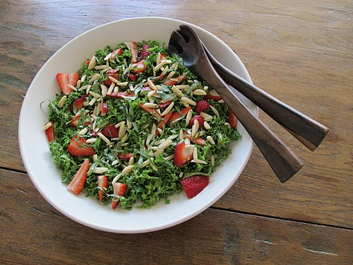 Raw Kale Salad with Strawberries and Almonds