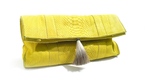 Morgan Parish Chartreuse Clutch