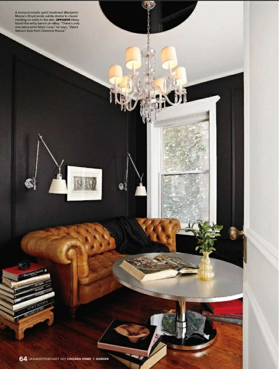 BLack walls and leather chesterfield sofa