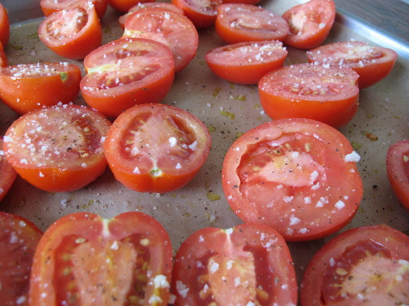 Tomato Halves with Grey Salt