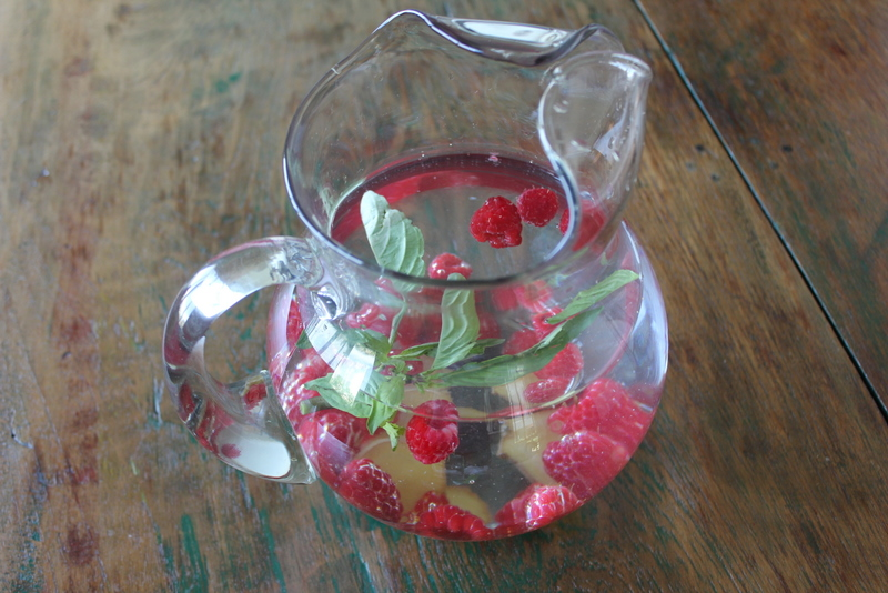 Raspberry, Ginger and Thai Basil Fruit Water recipe