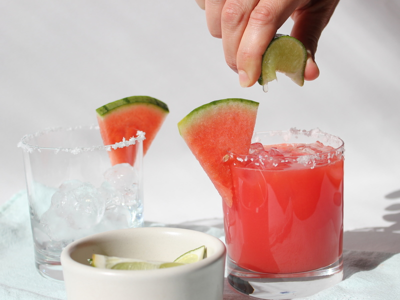 Watermelon Margaritas with a squeeze of lime
