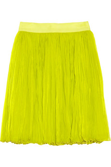 Broomstick crinkled silk-chiffon mini skirt