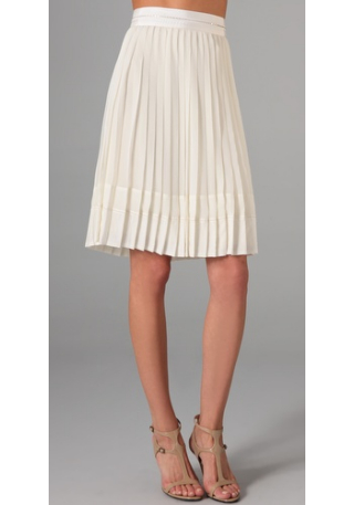 ladylike skirts, cream pleated skirt