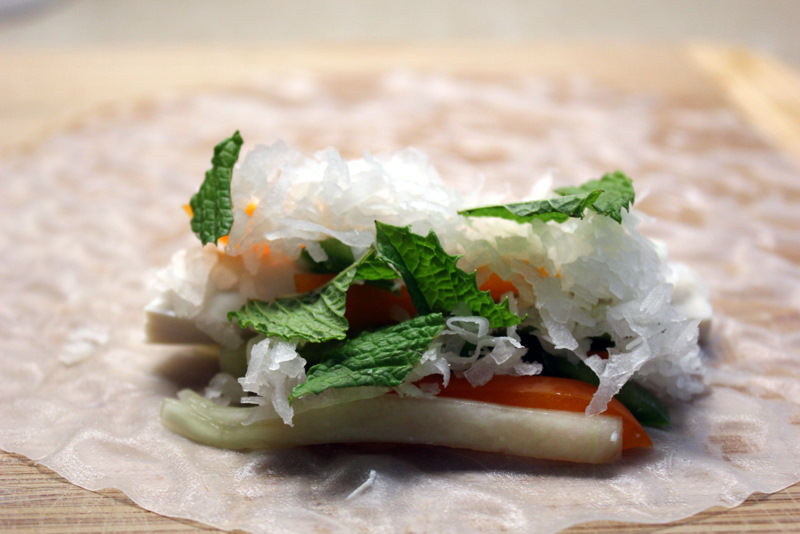 Coconut and tof spring roll filling