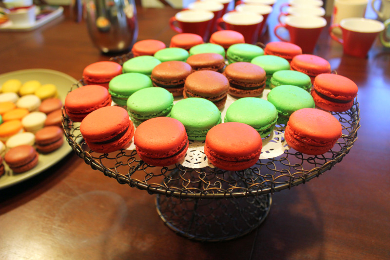 different colored macaroons