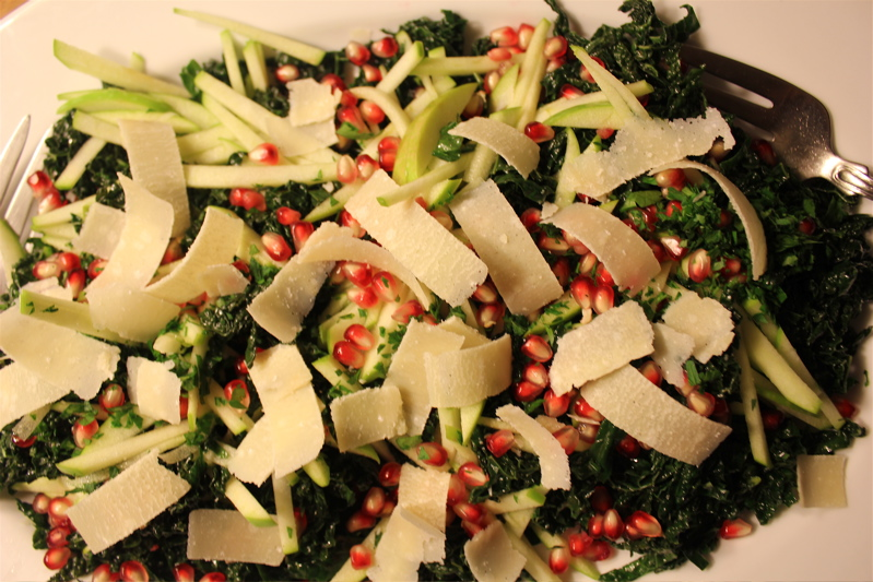 Kale salad with pomegranates