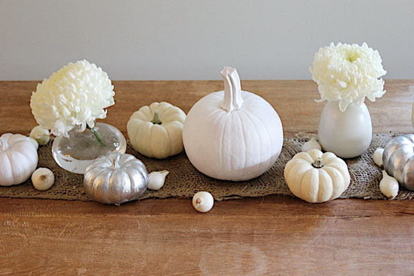 White pumpkin Thanksgiving centerpiece
