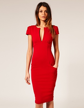 ASOS Ponti Pencil Dress with Pockets