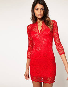 ASOS Lace Dress With Scalloped Neck