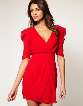 ASOS Cross Over Tulip Dress with Ruched Sleeves
