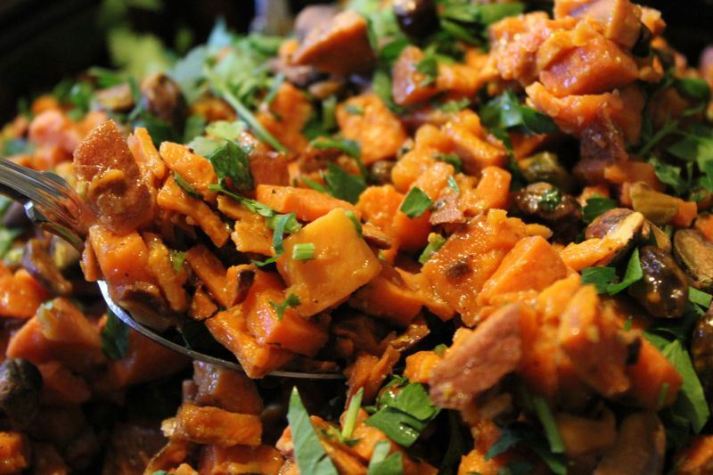 Sweet potato and pistachio salad