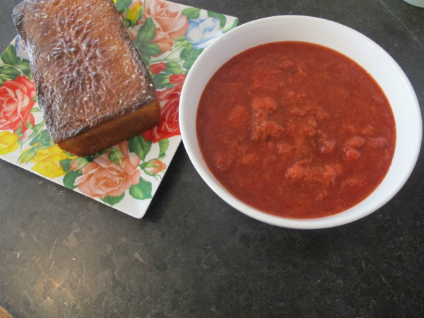 Strawberry Rhubarb Sauce and Lemon Cake