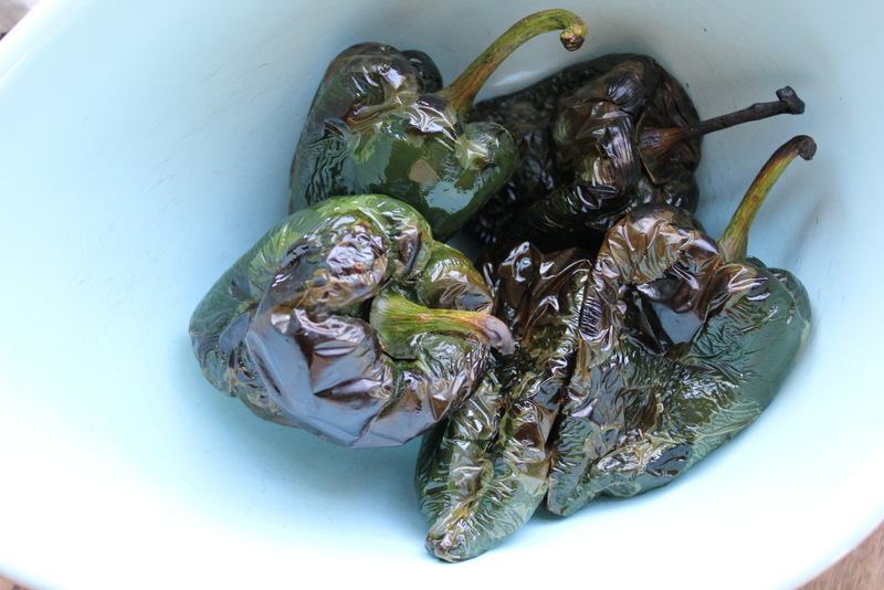 Broiled pasilla peppers