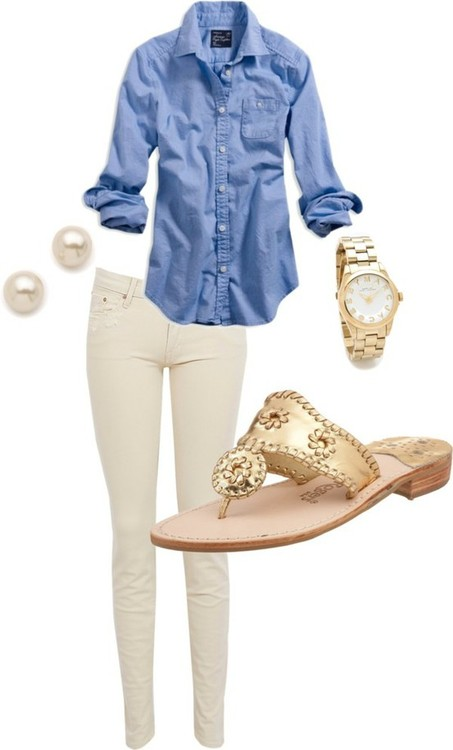 White Jean, Pearls and Buttons down