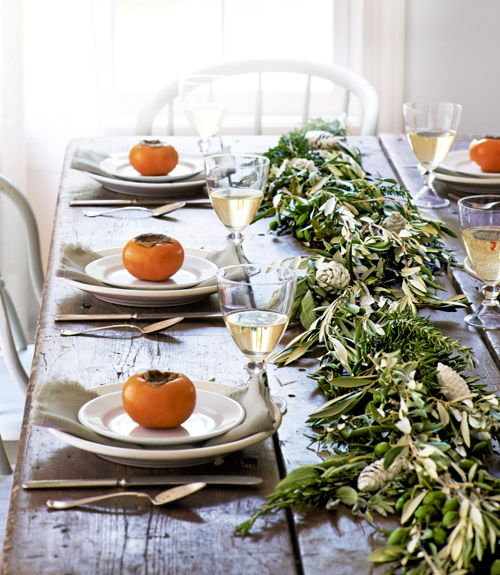 Green Garland Thanksgiving Table