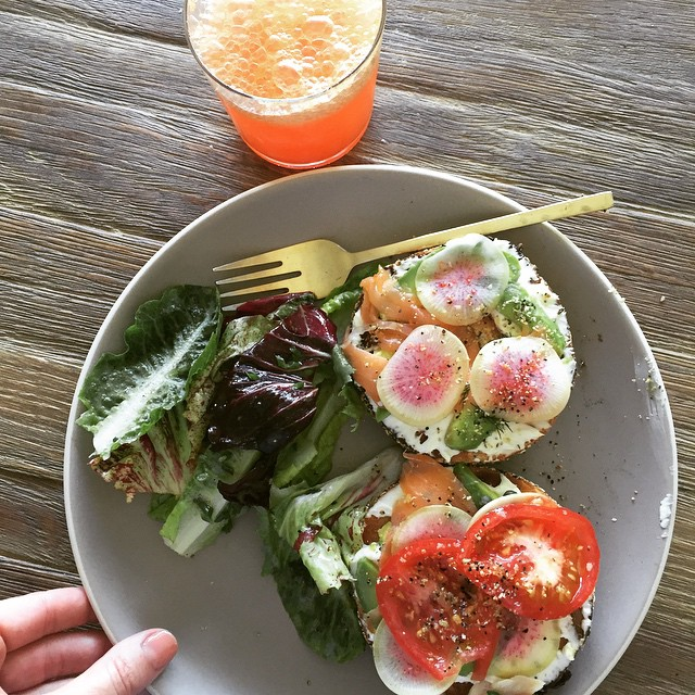Just a simple bagel spread she said @lafemmeepicure @boosimms @drewhowerton with fresh blood orange mimosas